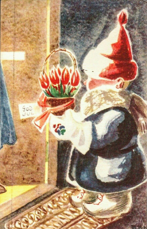 Julekort Benny Berg-Nilsen = Benny Motzfeldt Blomsterbud. Utg Oppi Stemplet 1943.