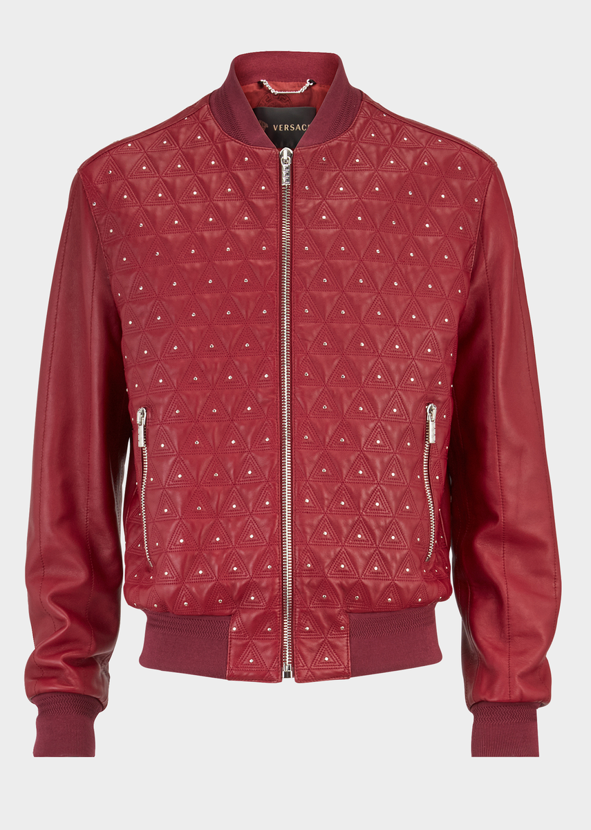 Triangle Leather Bomber Jacket From Versace Men S Collection The Classic Versace Bomber Jacket Gets A New Loo Versace Jacket Leather Jacket Red Jacket Leather [ 1200 x 855 Pixel ]