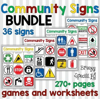 Community Signs Games, Posters, and Worksheets (All 4 Units) for