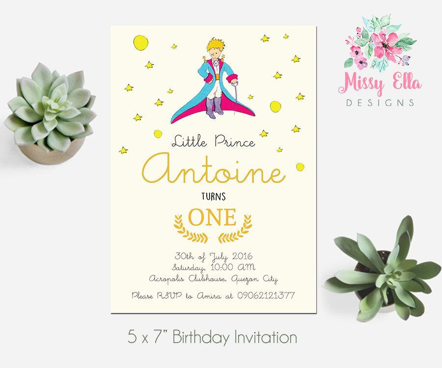 Digital file the little prince le petit prince birthday party the little prince le petit prince birthday party invitation printable invitation stopboris Image collections