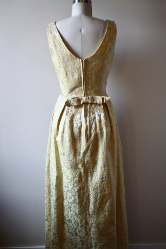 1960s yellow brocade dress // 1960s gown // vintage dress | Šaty ...