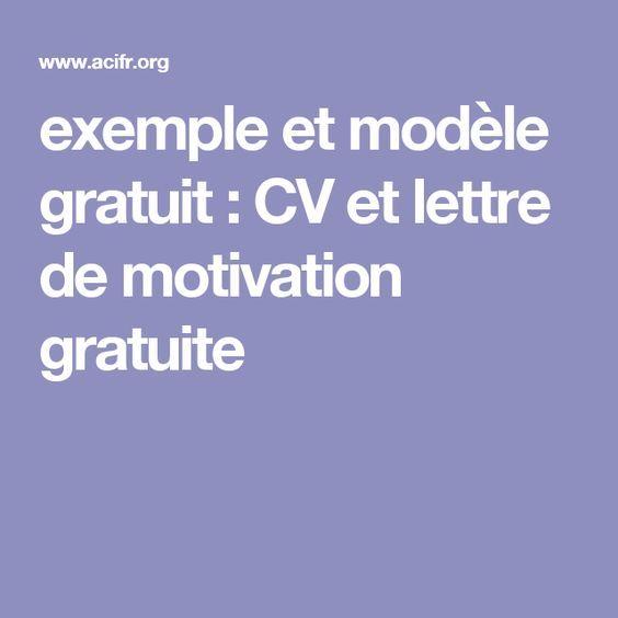 Exemple Et Modèle Gratuit : CV Et Lettre De Motivation