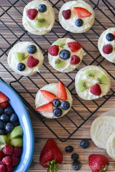 Typically Simple Mini-Fruit-Pizza Made with fresh fruits coming into season at your grocery store.