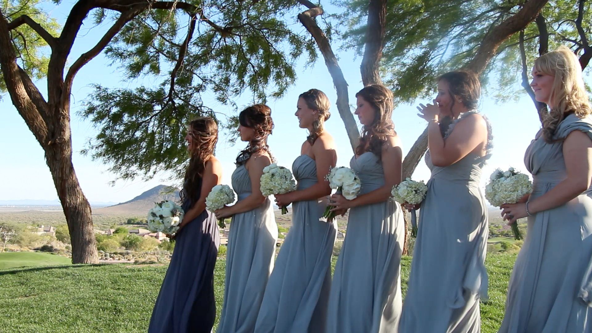 Mixmatched grey and pewter bill levkoff bridesmaid dresses mixmatched grey and pewter bill levkoff bridesmaid dresses outdoor wedding golf course scottsdale ombrellifo Images