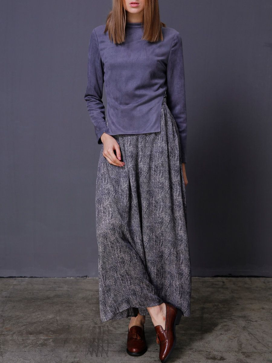 Adorewe stylewe jasico gray long sleeve polyester stand collar two