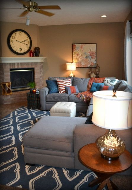 Grey And Orange Living Room casual orange, blue and gray family room traditional family room
