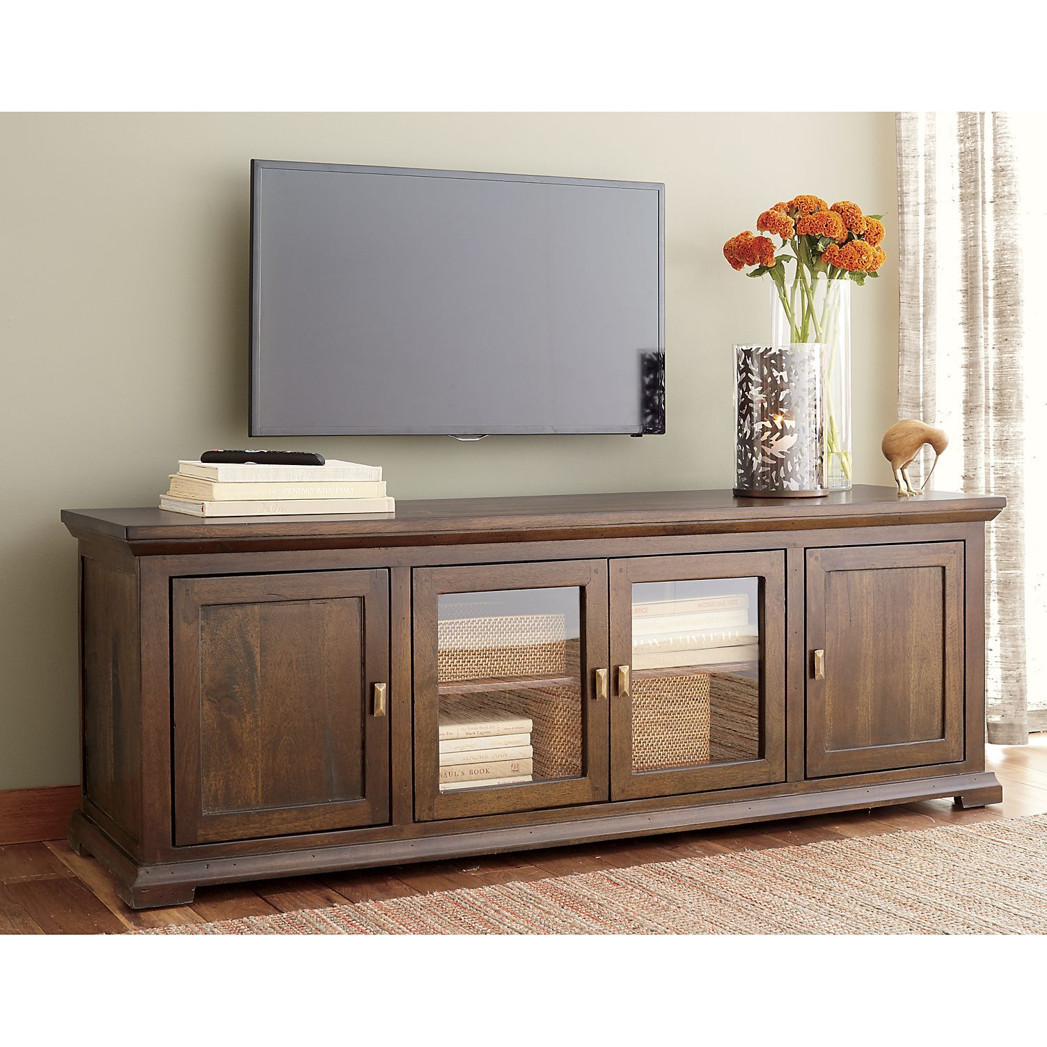 Crowne 72 Media Console Roomy Inch Has A Central Double Door Gl Cabinet With One Adjule Shelf Flanking Cabinets Open To