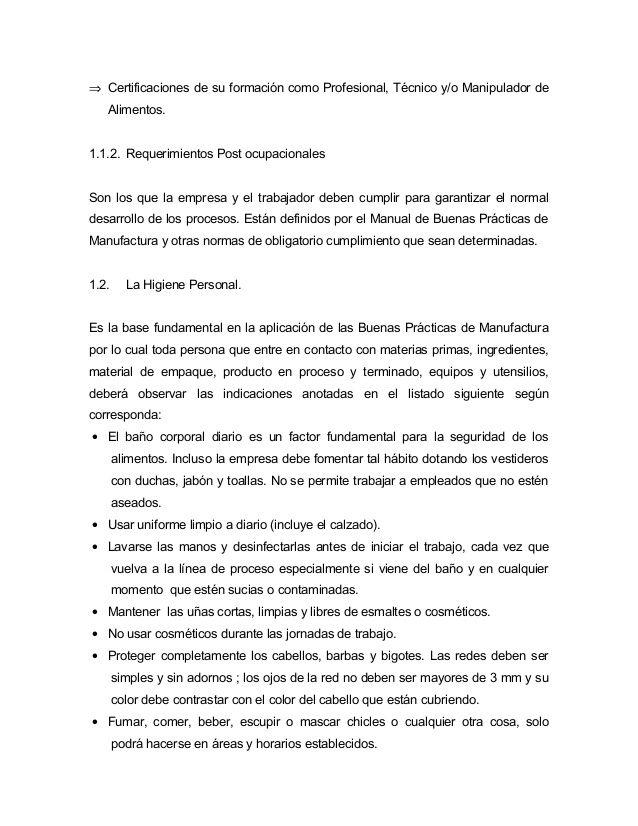 Modelo De Manual De Buenas Practicas De Manufactura En La
