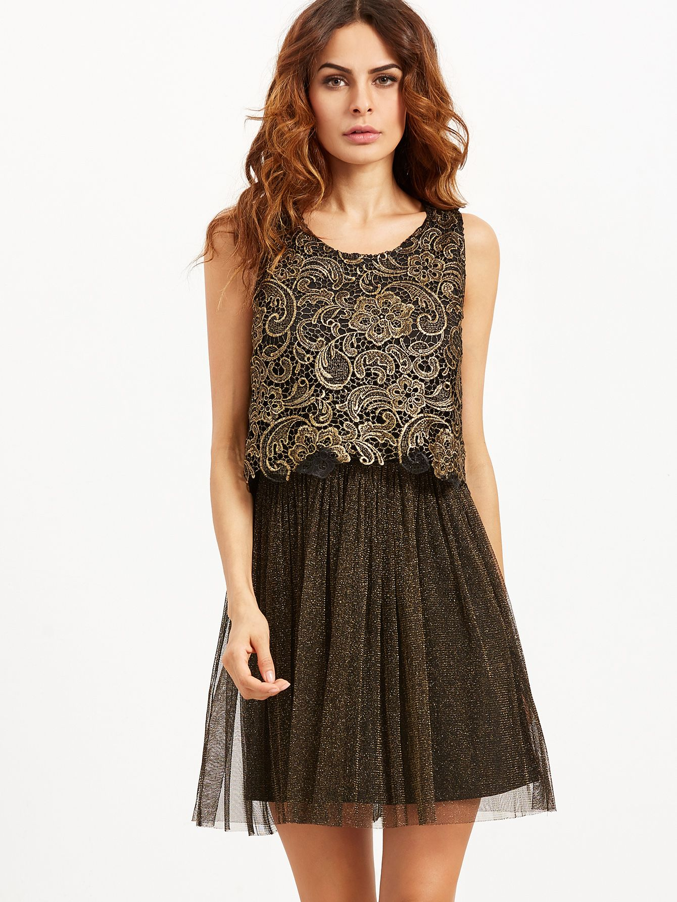Shein black embroidered lace top combo sparkle dress shops lace