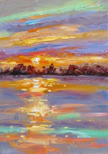 SUNSET OVER THE WATER, COLORFUL PLEIN AIR LANDSCAPE by TOM BROWN, ORIGINAL OIL, painting by artist Tom Brown