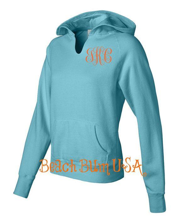 Monogram Hoodie Sweatshirt Comfort Colors Lagoon By Beachbumusa