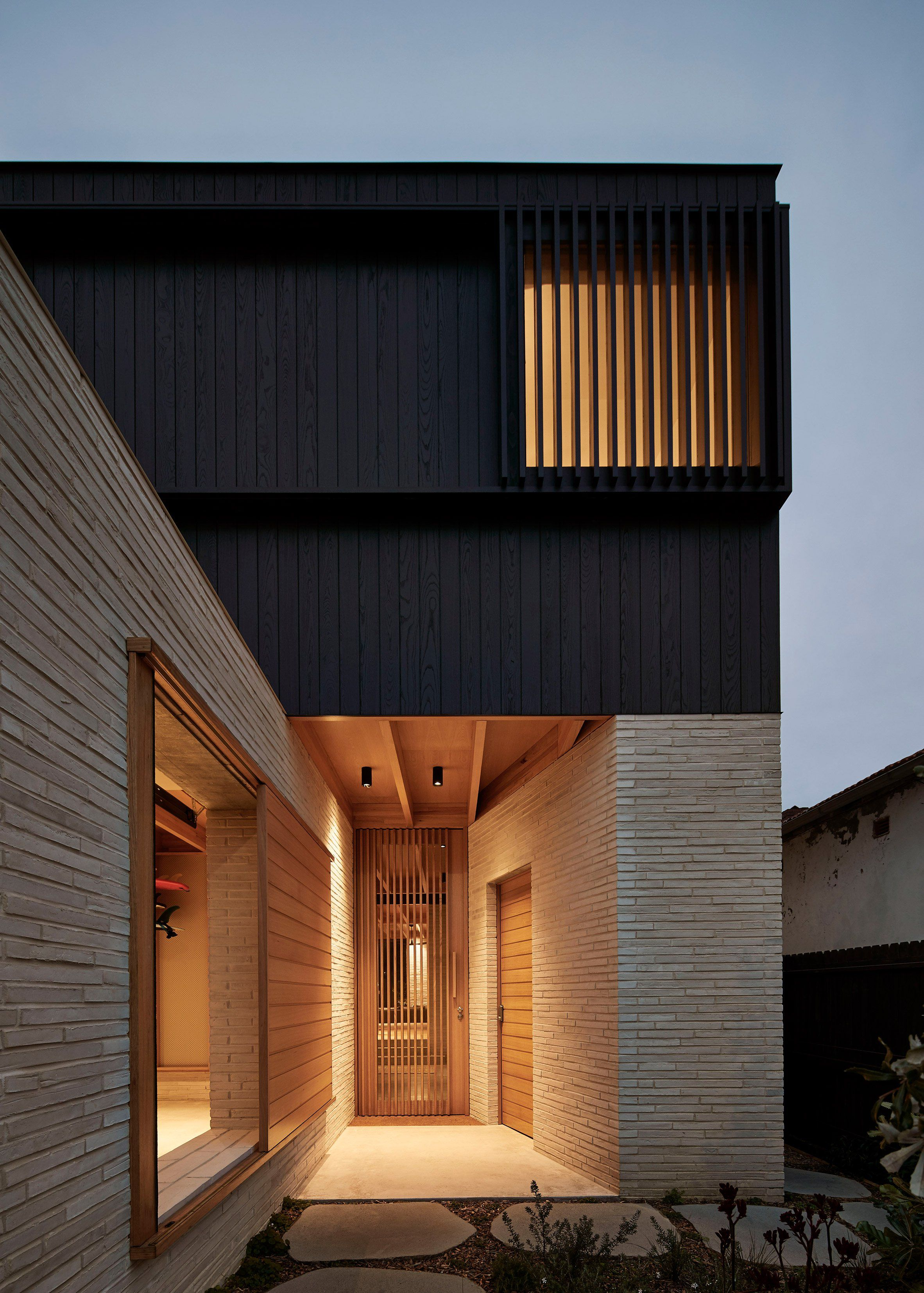 Andrew Burges Sydney House Pairs Pale Brickwork With Blackened Wood Brick Exterior House Modern Brick House Facade House