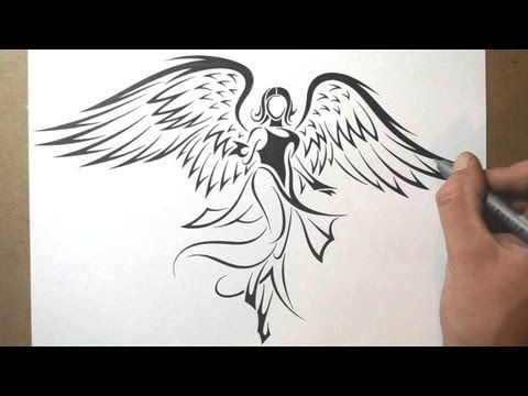 How to Draw an Angel - Tribal Tattoo Design Style