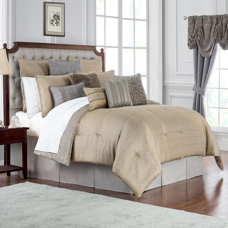 Carrick Silver/Antique Gold 4-Piece Comforter Set