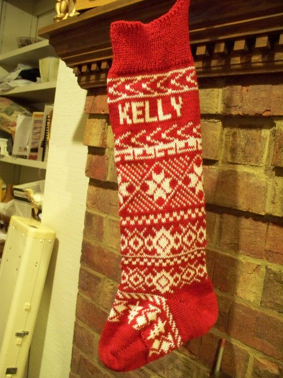 Knit Christmas stocking with name Free ship to US by WeKnitForYou ...