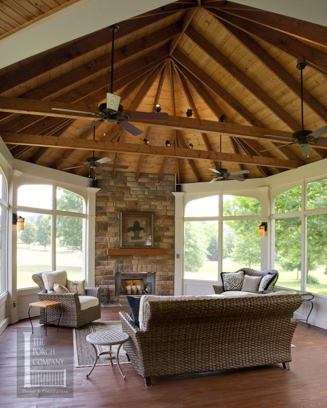 Open Porch Ceiling Outdoor Fireplace Brentwood Tn Nashville Like