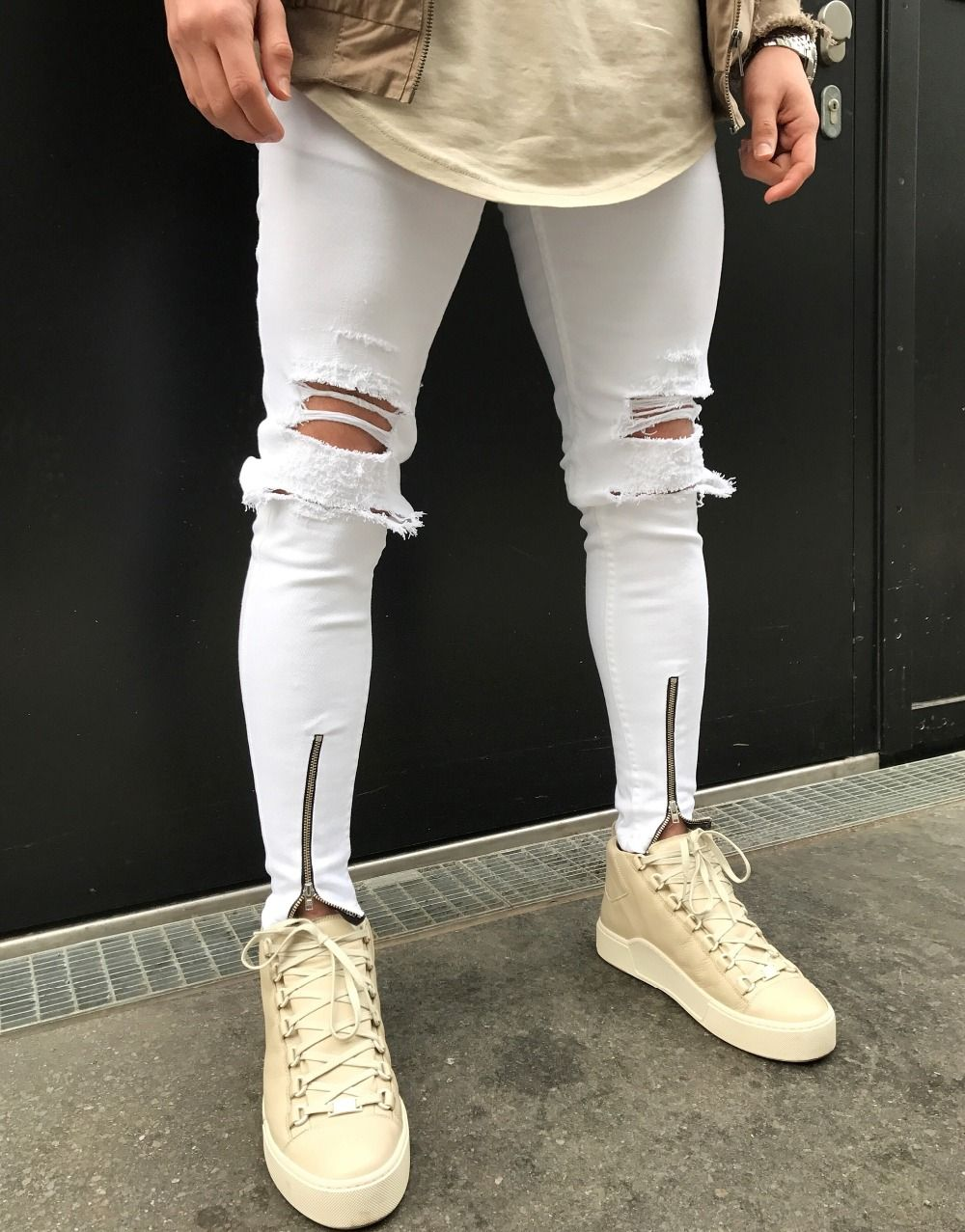 Men Skinny Jeans Ripped Denim Punk Knee Destroyed Hole Frayed Pants Trousers