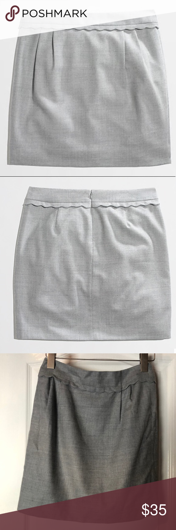 fffdc43478 Light Grey Wool Mini Skirt