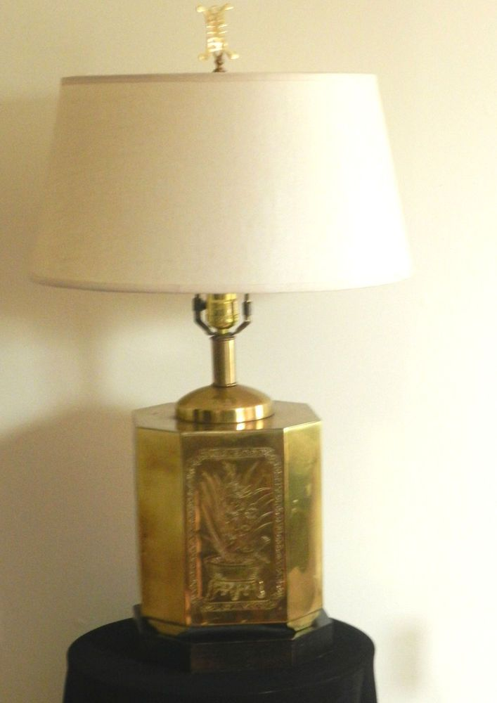 vintage frederick cooper brass chinoiserie table lamp hollywood