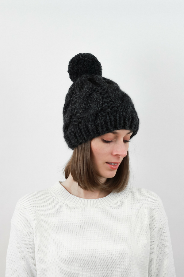 709d3b12d23b4 Cable Knit Pom Pom Hat