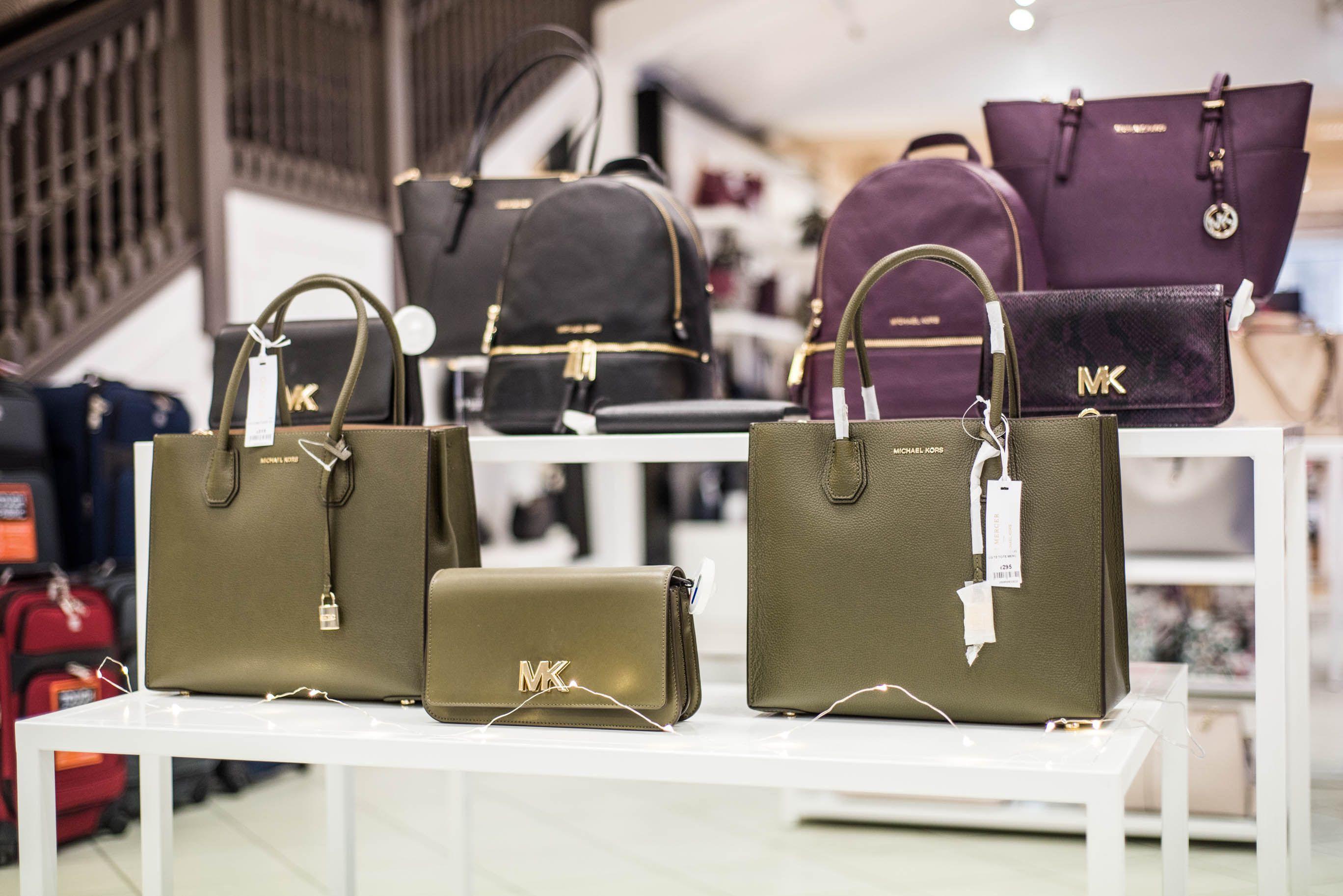 Beales Department Michael Kors Tote Jet Handbag In Black Purple Or Tan