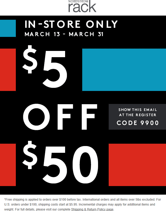 graphic about Nordstrom Rack Coupon Printable titled Pinned March 13th: $5 off $50 at #Nordstrom Rack
