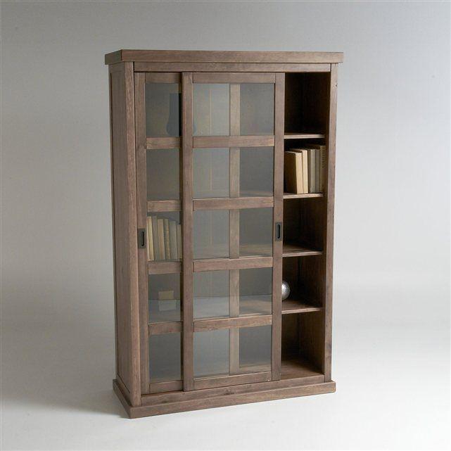 Biblioth que 2 portes coulissantes pin massif lunja la Meuble de rangement 2 portes coulissantes