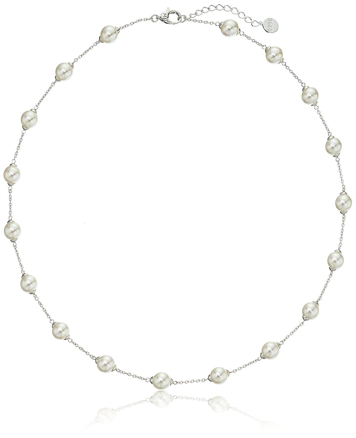 Majorica  Simulated Pearl (8 mm) Station Necklace, 18' >>> Want additional info? Click on the image.