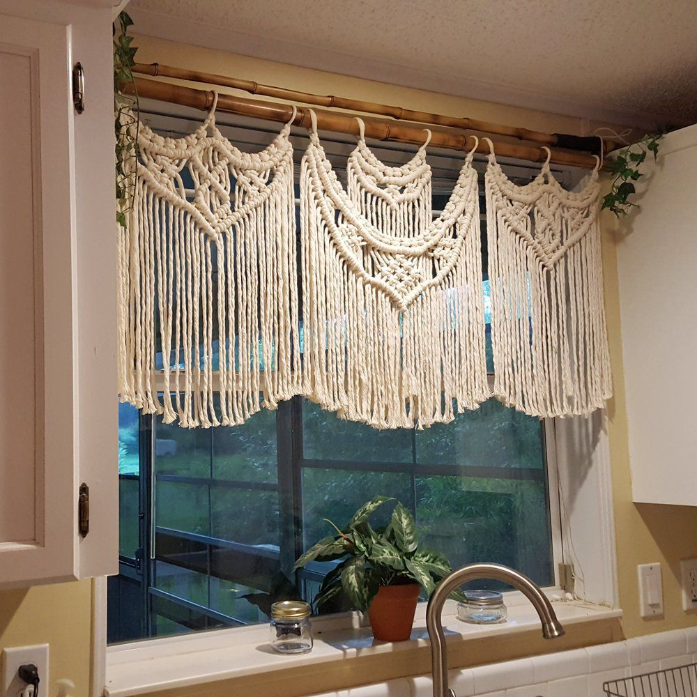 Macrame Window Curtain, Large Covering, White Kitchen