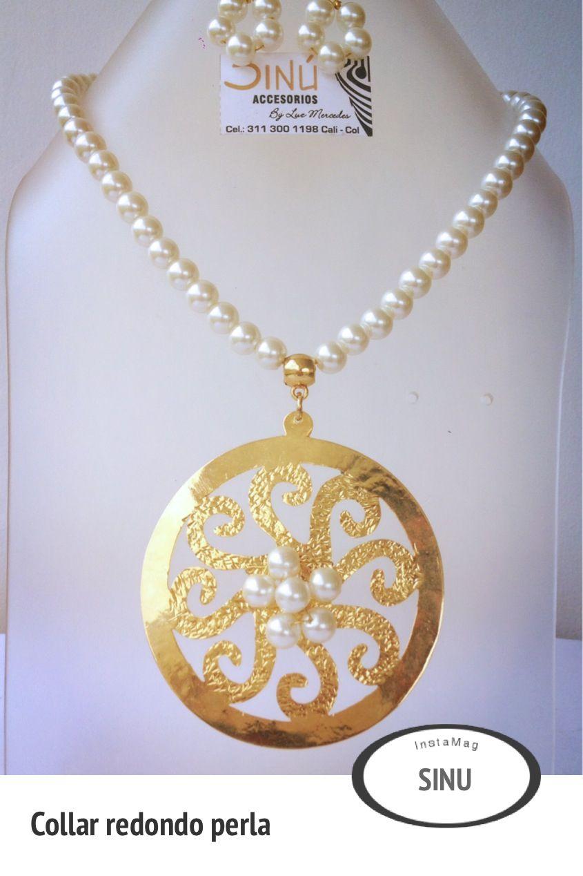 Collar perlas dije en bronce con ba o de oro collares - Bano de oro ...
