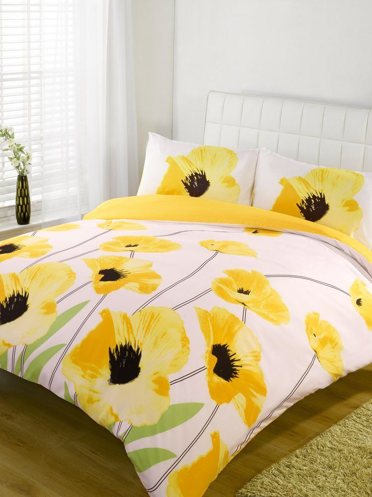 Yellow Poppy Print Design Double Size Duvet Cover Bed Set Amazon Co