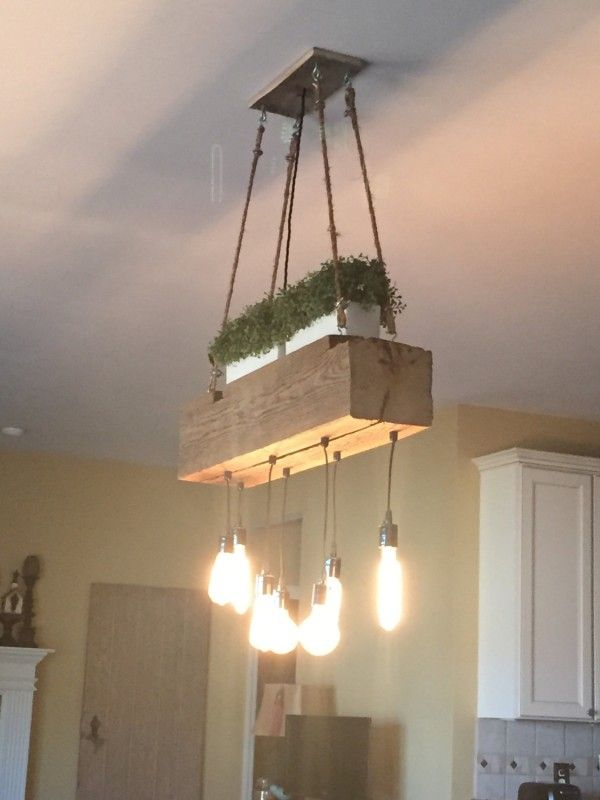 Custom Reclaimed Barn Wood Beam Chandelier - Rustic Reclaimed Wood Beam Over Kitchen Island With Hanging