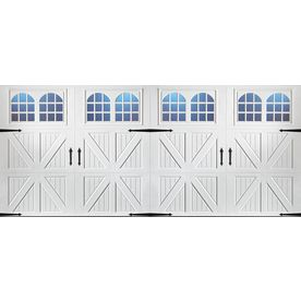 Pella Carriage House 192 In X 84 In Insulated White Double Garage Door With Windows 123525 Double Garage Door Garage Doors White Garage Doors