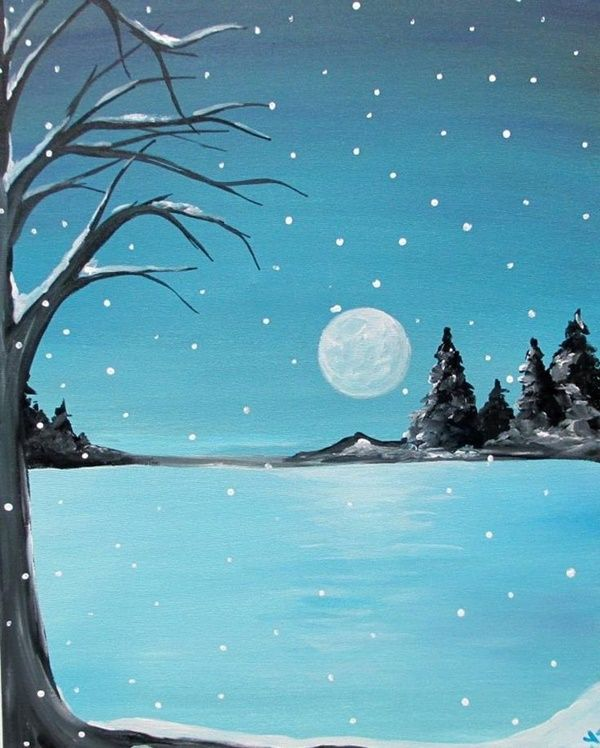 40 Simple And Easy Acrylic Landscape Painting Ideas Landscape Paintings Acrylic Winter Landscape Painting Easy Landscape Paintings