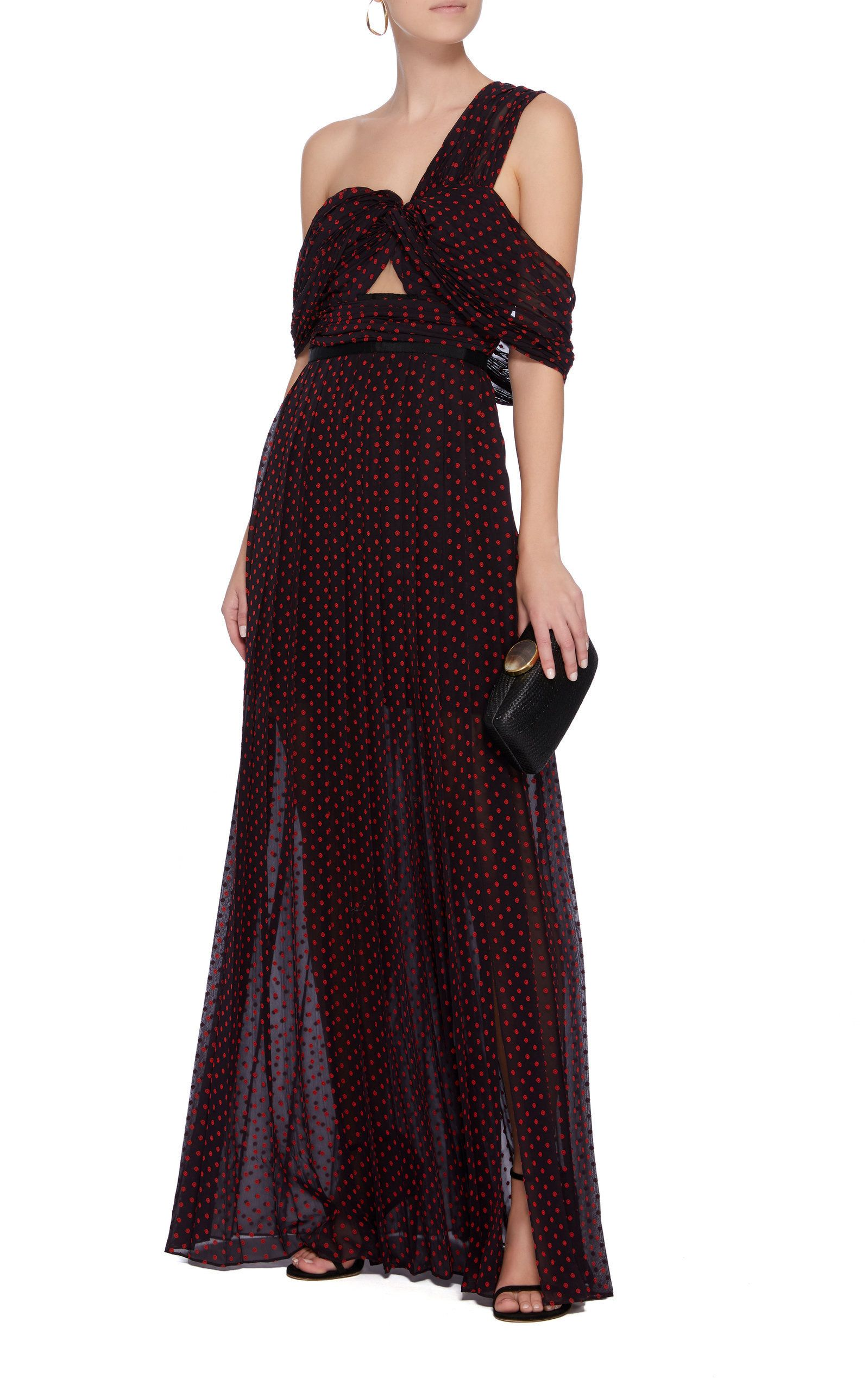 fcb61875df One Shoulder Plumetis Maxi Dress by SELF PORTRAIT Now Available on Moda  Operandi