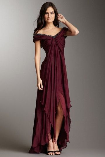I will never have anything to wear this to, but holy cow! ABS Allen Schwartz Off-The-Shoulder Draped Gown