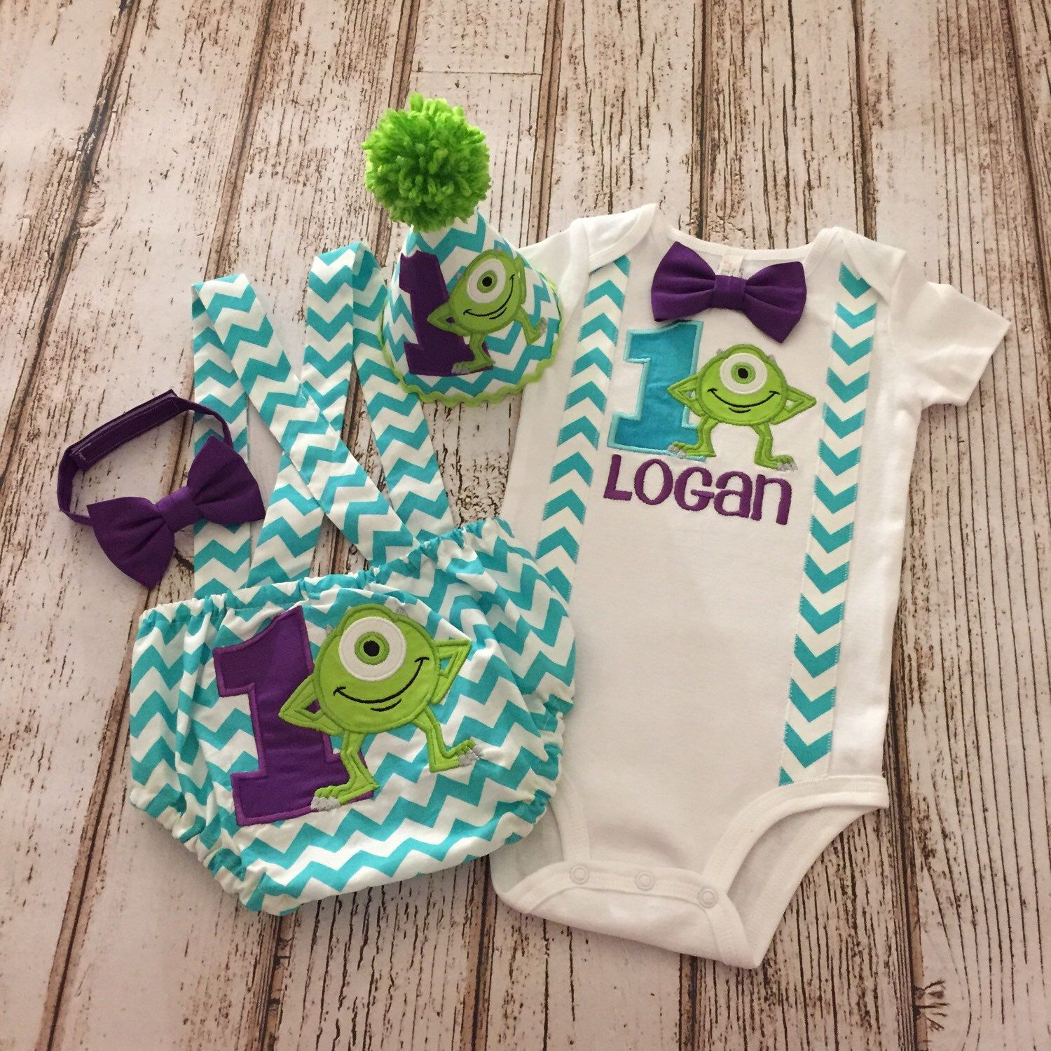 Monsters Inc Mike Wazowski inspired First Birthday Boy Outfit
