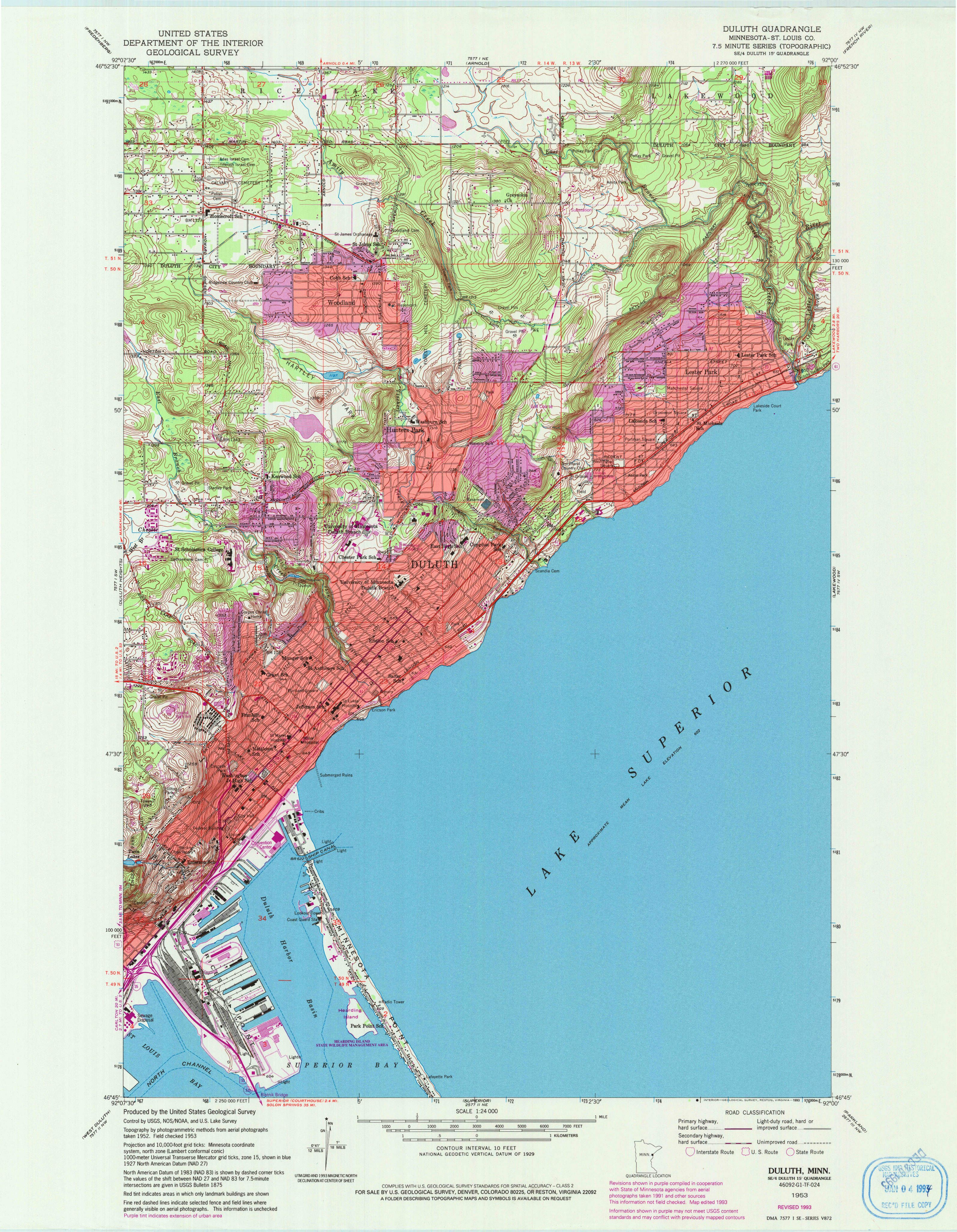 Duluth, MN—1953. Map from the USGS Historical Topographic Map ...