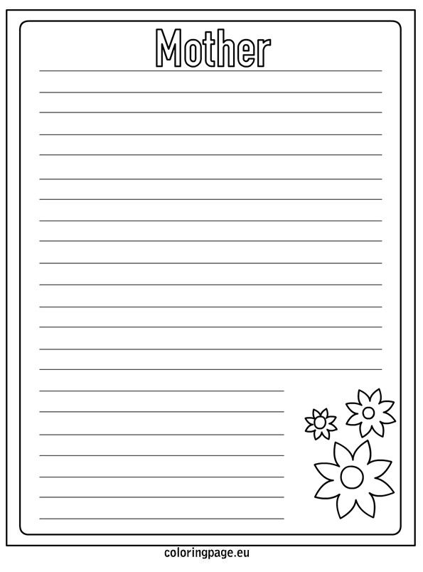 mother s day writing paper coloring page christy s  mother s day writing paper coloring page