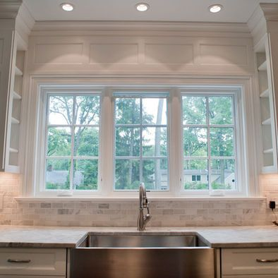 Kitchen Cabinets Next To Window cararra backsplash with super white granite- love the shelves on