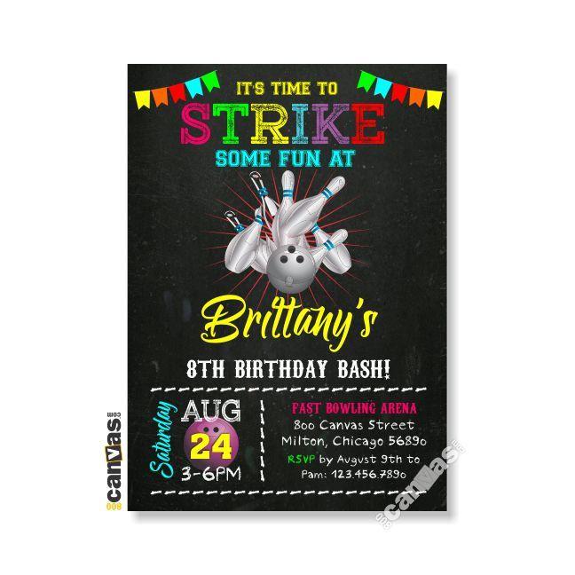 Bowling Invitation, Bowling Birthday Invitation, Girl Bowling - bowling invitation