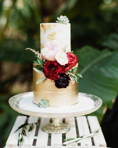 Modern Weddingcake Idea Two Tier Gold Metallic Wedding Cake With