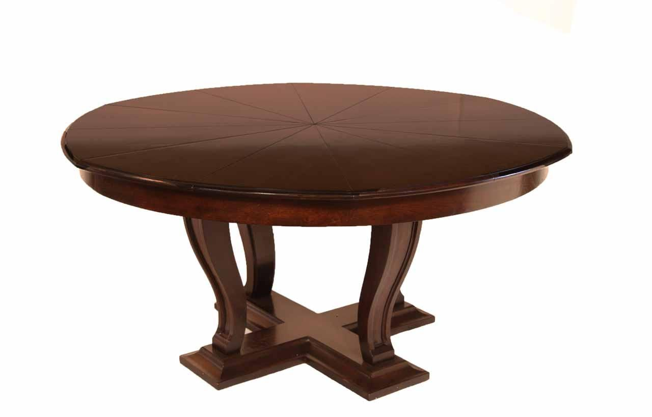 Solid Oak Transitional Jupe Table For Sale, Ebony Finish