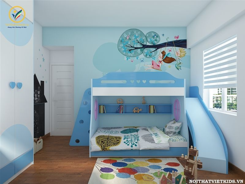 Thiết kế phòng ngủ cho bé trai với hệ giường tầng cầu trượt