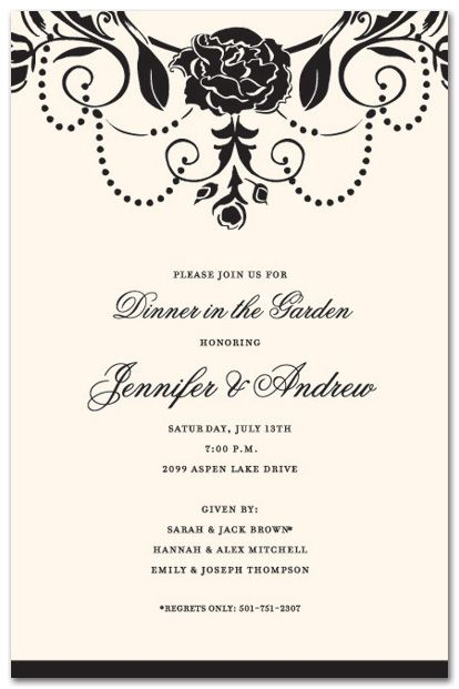 Wedding Brunch Invitations, Medici Black Brunch for Wedding - Formal Business Invitation