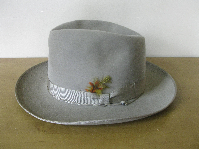 Vintage Pilgrim Fedora Hat With Box Size 7 Taupe Tan