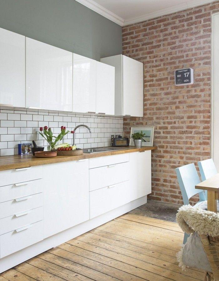 Ziegelwand 55 Ideen Wie Sie Die Moderne Kuche Aufwerten Moderne Kuche Kuche Und Wohnzimmer Haus Kuchen