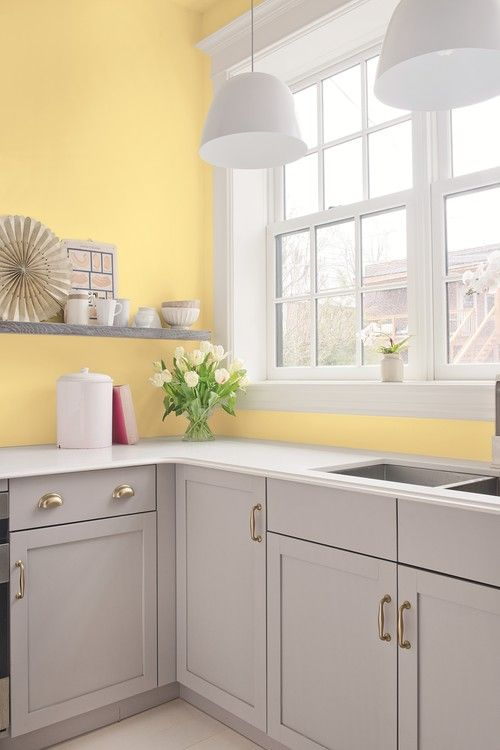 Cottage Kitchen In Yellow And Gray Grey Kitchen Walls Yellow