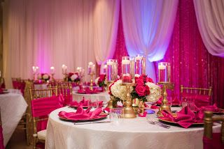 Celebrity Event Decor Banquet Hall Llc Hot Pink Gold And White Wedding Reception
