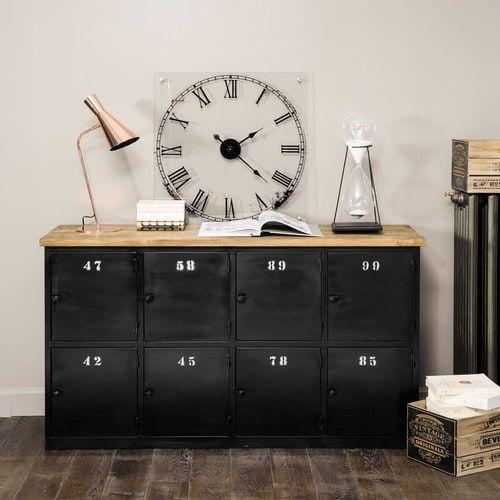 comptoir indus en m tal gris anthracite et manguier am nagement d coration pinterest. Black Bedroom Furniture Sets. Home Design Ideas